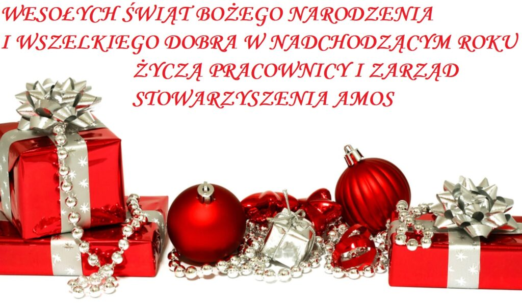 """Obraz przedstawia życzenia Bożonarodzeniowe. """"Wesołych świąt Bożego Narodzenia i wszelkiego dobra w nadchodzącym roku życzą pracownicy i zarząd stowarzyszenia AMOS."""""""