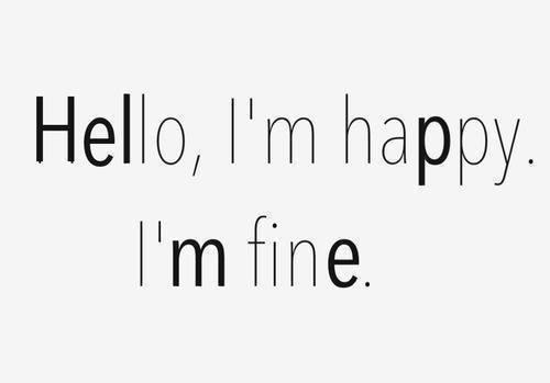 """Zdjęcie przedstawia tekst """"Hello, I'm happy. I'm fine."""" I nic poza tym."""
