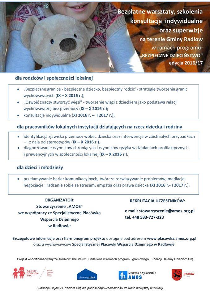 Plakat promujący szkolenia z cyklu Bezpieczne Dzieciństwo