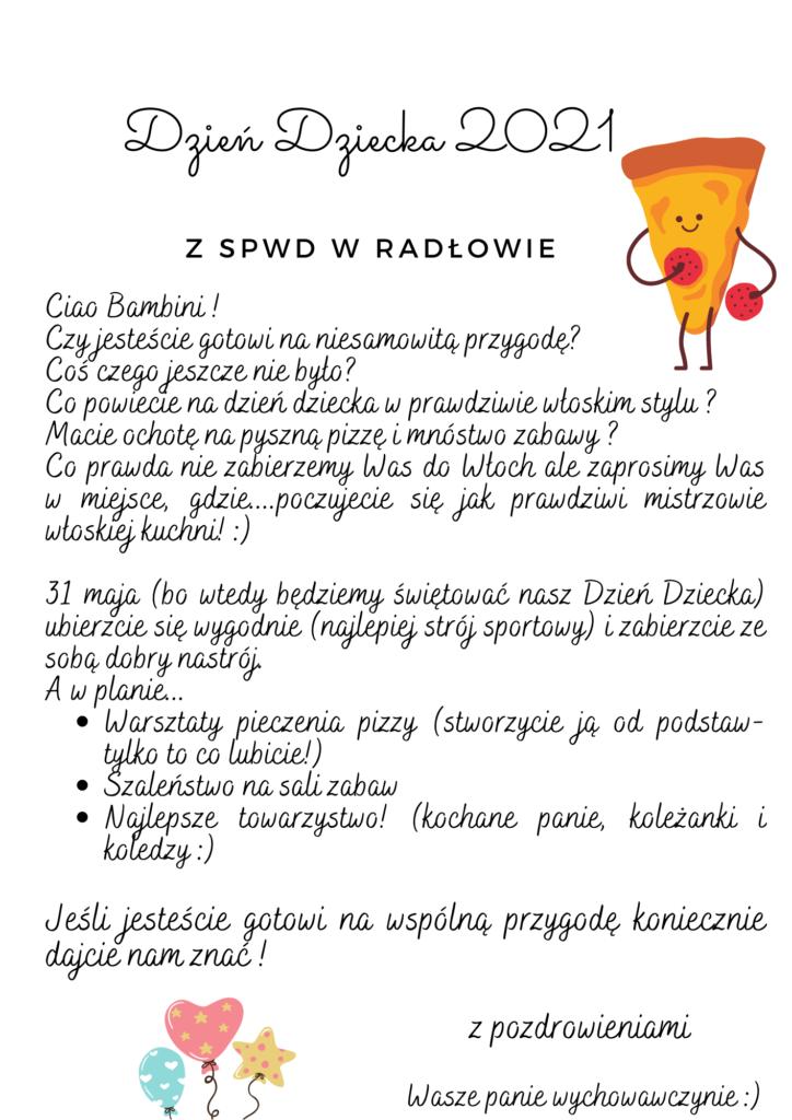Obraz przedstawia plakat promujący dzień dziecka w SPWD w Radłowie w 2021 roku.
