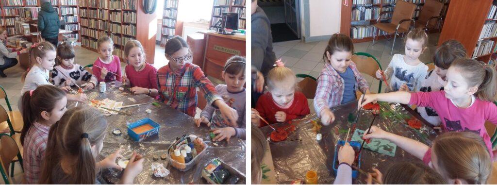 Są to dwa zdjęcia połączone w jedno, które przedstawiają dzieci podczas spotkania z artystą malarzem.