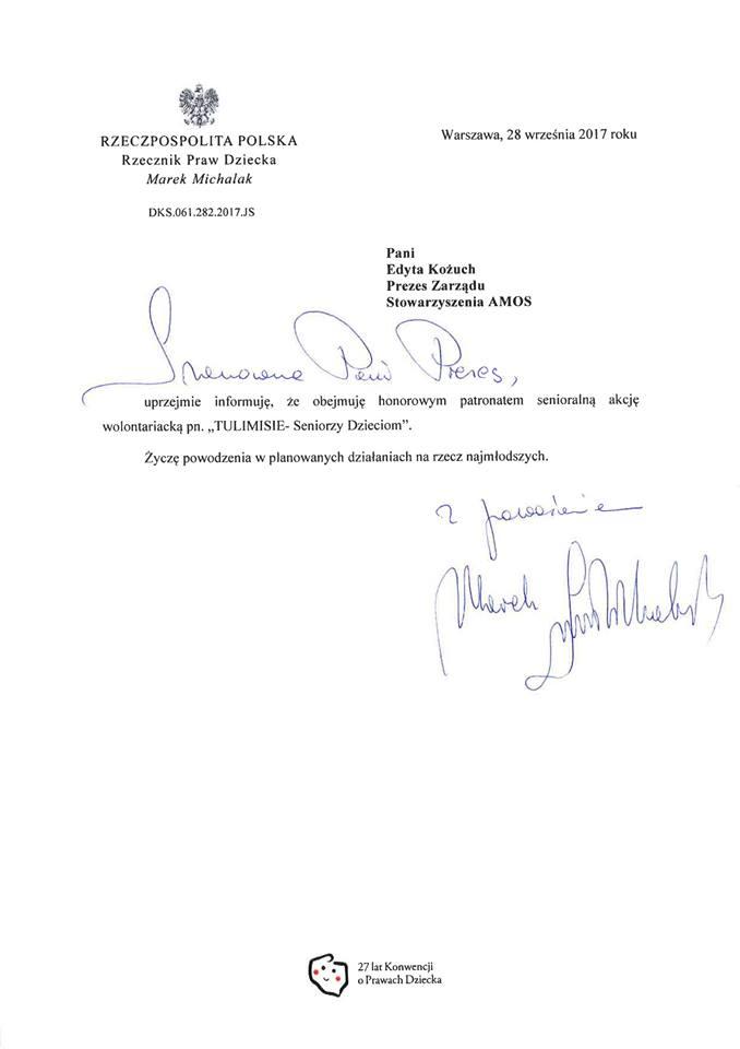 Zdjęcie dokumentu informującego o objęciu patronatem Rzecznika Praw Dziecka dla akcji Tulimisie.