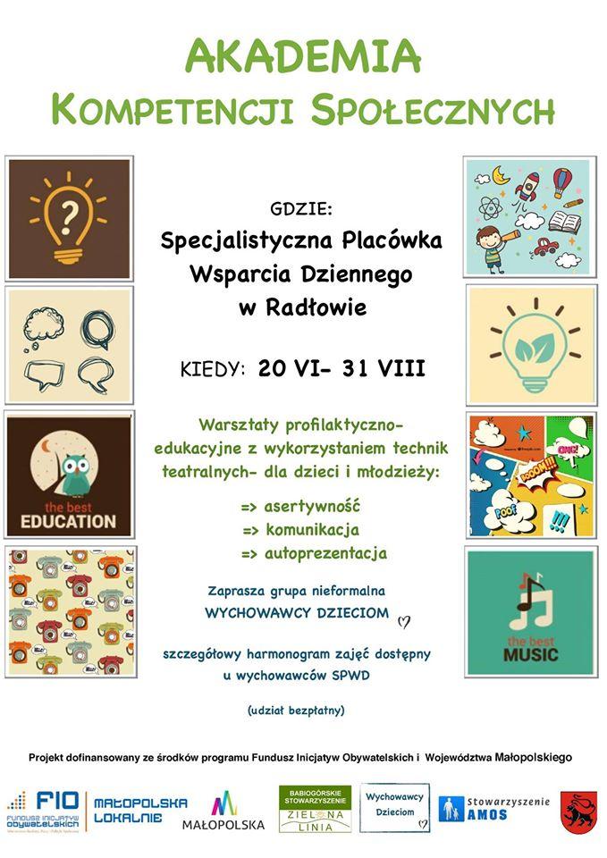 Plakat promujący Akademię Kompetencji Społecznych.